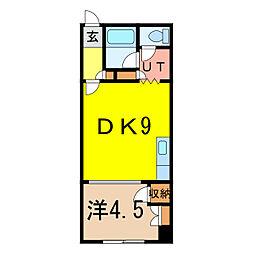 レジデンス梅 2階1DKの間取り