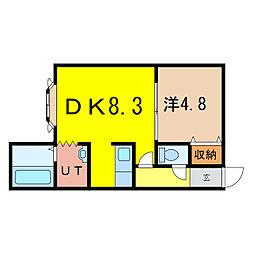 ノヴェル神居2.4 D[1階]の間取り
