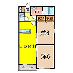 シャンノール山田[3階]の間取り