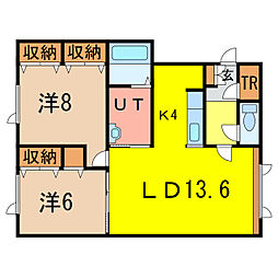 ノヴェル末広3・8B[2階]の間取り