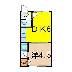 山口ハイツ東光9・3[1階]の間取り