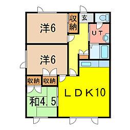 北海道旭川市末広二条9丁目の賃貸アパートの間取り