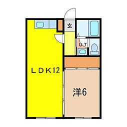 ダイヤハイツ東6-1[2階]の間取り