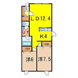 コスモスA EAST5.6[1階]の間取り
