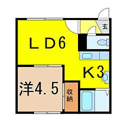 北海道旭川市東光六条3丁目の賃貸アパートの間取り