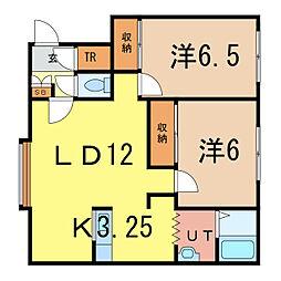 イースト310 E 2階2LDKの間取り