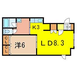 サクライハイムII 1階1LDKの間取り