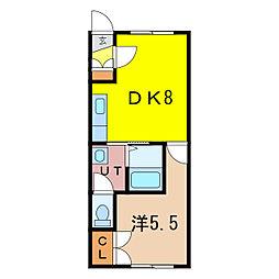 サニーコート 2階1DKの間取り