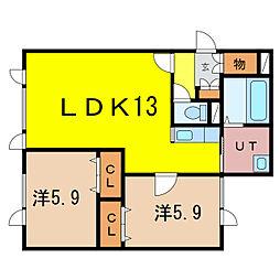 新築)豊岡5-1C棟 1階2LDKの間取り
