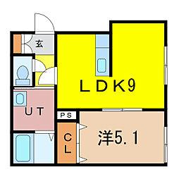 新築)旭川永山 2階1LDKの間取り