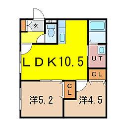 新築)旭川永山 2階2LDKの間取り