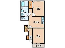名鉄西尾線 西尾口駅 徒歩33分の賃貸アパート 1階2DKの間取り