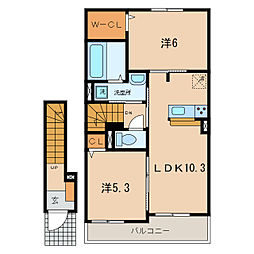 JR東海道本線 三ヶ根駅 徒歩6分の賃貸アパート 2階2LDKの間取り