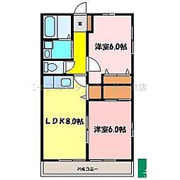 滋賀県大津市中央3丁目の賃貸アパートの間取り