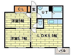 シャイニングドリーム真駒内[3階]の間取り