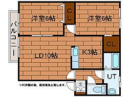 センチュリー澄川A 1階2LDKの間取り