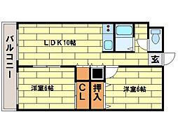 ローヤルハイツ西岡[4階]の間取り