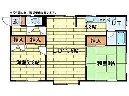 西尾マンションF[1階]の間取り