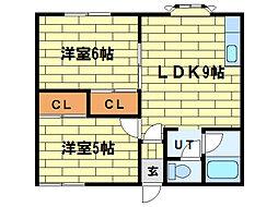 メゾンドヒル33[2階]の間取り