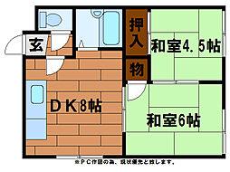 北口コーポ[2階]の間取り