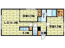 ハウス中の島シュライン[1階]の間取り