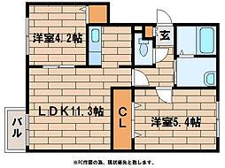 メゾンクードゥクールII[2階]の間取り