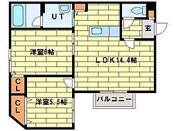 システムコート澄川[4階]の間取り