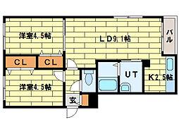 CREA澄川[3階]の間取り