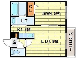 ル・ファール平岸B[4階]の間取り