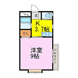 ラフォーレ・ミッキー[2階]の間取り