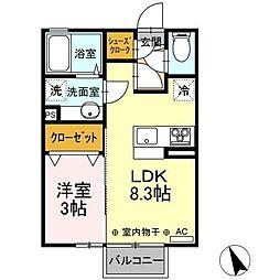 JR東北本線 古河駅 12.6kmの賃貸アパート 2階1LDKの間取り