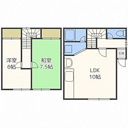 新川2-6 1頭2戸建[1階]の間取り