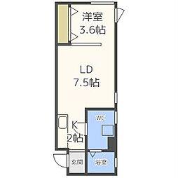 S-STUDIO エススタジオ 1階1LDKの間取り