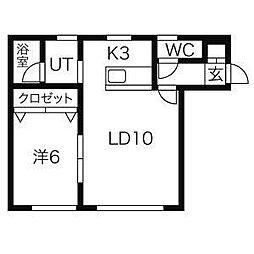 北海道札幌市北区北二十条西5丁目の賃貸アパートの間取り