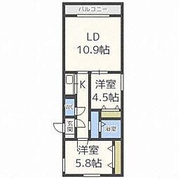 ラ・メゾン・カトゥル・ソレイユ 3階2LDKの間取り