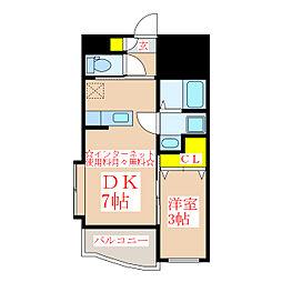 ヴェスタ 3階1DKの間取り