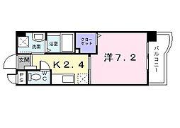 グリーンコートIII番館 3階1Kの間取り