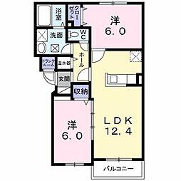 ヴェントル−チェ 2階2LDKの間取り
