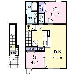 メゾンKT 12号館 2階2LDKの間取り