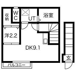 Ehre(エーレ) 2階ワンルームの間取り