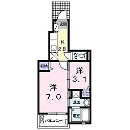 グランパール富里七栄 V 1階1SKの間取り