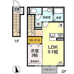 DーroomならはII 2階1LDKの間取り