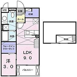 エクストラ ステージ II 2階1DKの間取り
