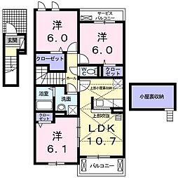 ランドマーク桜井 I 2階3LDKの間取り
