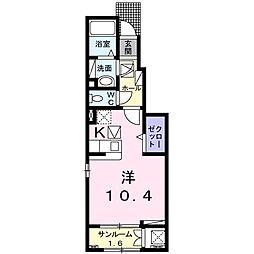 カーネリアン笹川 1階1Kの間取り