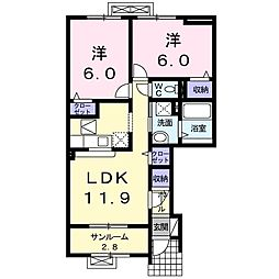 アネックスウェスト S&Y 1階2LDKの間取り