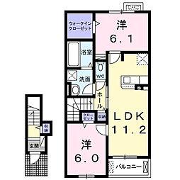 トーレヤ B 2階2LDKの間取り