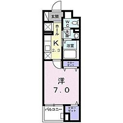 グレイスコモンズ東静岡 4階1Kの間取り