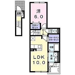 ドミール南仙台 2階1LDKの間取り