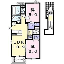 ラルミエールメゾンVI 2階2LDKの間取り